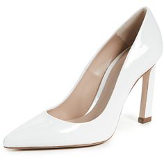 Stuart Weitzman Chicster Pumps (1.470 RON) ❤ liked on Polyvore featuring shoes, pumps, off white, stuart weitzman pumps, leather pumps, stiletto pumps, champagne pumps and stuart weitzman shoes