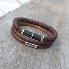 Leather bracelet set Mens lava and leather by Jullyetcreations
