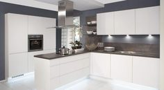 i-Home Kitchens – Nobilia Kitchens German Made :: Nobilia Duo 333 White Matt Handle-less German kitchen