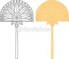 Egyptian fan with floral pattern