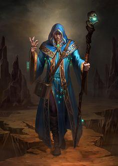 wizard by hongsam / Character / Man / Staff / Cloak / Hood / Belt / Book / Bag / Necklace / Shoes