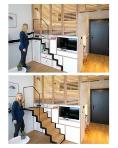 Simple Tiny House Layout Ideas - Page 13 of pull out stairs ~ Zoku, Tiny Studio Apartment building, AmsterdamTiny House Stairs Tiny House Movement // Tiny Living // Tiny House on Wheels // Traveling Tiny House // Dream Big Live Tiny // Tiny Home Home Design, Tiny House Design, Home Interior Design, Design Ideas, Studio Design, Interior Ideas, Modern Design, Tiny House Layout, Studio Layout