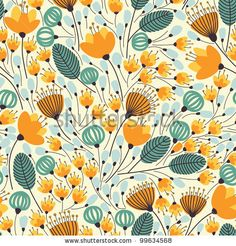 Elegant seamless pattern with orange flowers, vector illustration - stock vector