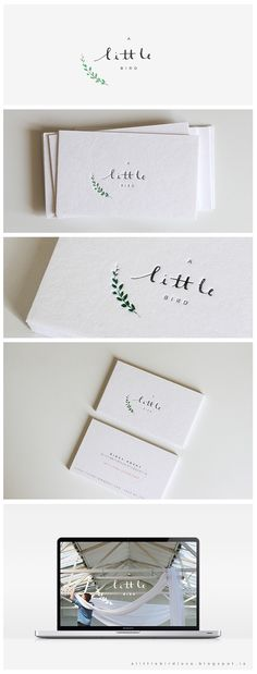 A Little Bird Branding by Belinda Love LeeA watercolor branch graces across the delicate logo. The branding was designed with the concept of 'less is more' in mind. These cards are print on textured cotton paper with the touch of subtle embossin… Collateral Design, Brand Identity Design, Graphic Design Branding, Corporate Design, Packaging Design Inspiration, Graphic Design Inspiration, Business Postcards, Hansel Y Gretel, Name Card Design