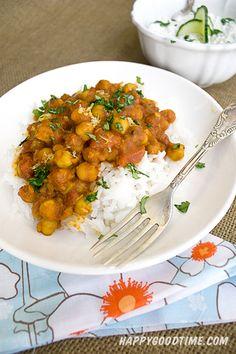 Chana Masala with Cucumber Raita- Vegetarian Chickpea Curry   Happy Good Time Blog