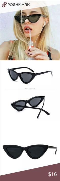 "Women's Cateye Sunglasses Lolita Fashion NWT ☀️ Women's Cateye Sunglasses Lolita Fashion Thin Cat Eye Frame UV 400 -BLACK SUNGLASSES  -Measurements: 5 11/16"" (144.5 mm) Width x 1 5/8"" (41 mm) Height Accessories Sunglasses"