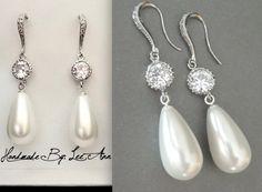 Pearl Drop Earrings ~ Sterling silver wires ~ Long ~ Elegant ~ Bridal Jewelry ~ High quality ~ Brides earrings ~  Top selling pearls