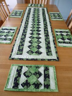 Shamrock Design Quilted Table Runner