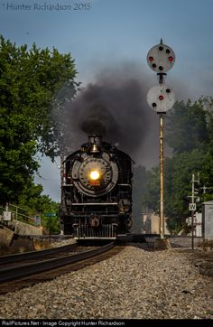 Framed by the classic face of a N&W CPL, Southern 4501 works westbound through Historic Downtown Abingdon, Virginia on it's return trip to Bristol on the Radford Rambler.
