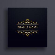 Design de conceito vip logo de luxo para sua marca com decoração floral Vetor grátis