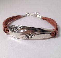 Spoon Bracelet Women's Handmade Leather Vintage Silverware Jewelry
