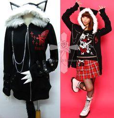 Jrock Visual Kei Butterfly Hell Meow Hoodie Emo Jacket | eBay