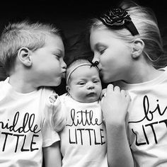Little Faces Apparel - Baby announcement  Matching sibling tees, big sister shirt, graphic baby gown for pregnancy announcement. Big Little, Middle little and little little graphic kids shirts.@sarah.leiterman