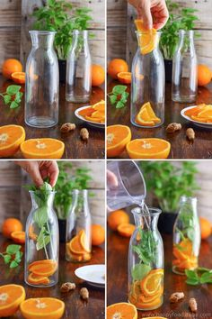 This orange basil infused water is the perfect drink for hot summer days. Its refreshing tasty and easy to make. Stay hydrated with this healthy flavored water. Body detox and cleanse with infused water. Only 3 ingredients - orange basil and turmeric v Healthy Eating Tips, Healthy Nutrition, Healthy Drinks, Healthy Recipes, Healthy Water, Drink Recipes, Detox Cleanse Water, Jus Detox, Detox Waters