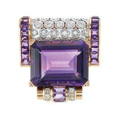 Platinum, Gold, Amethyst and Diamond Dress Clip Victorian Jewelry, Antique Jewelry, Vintage Jewelry, Vintage Brooches, Purple Haze, Shades Of Purple, Purple Quartz, Art Deco Jewelry, Jewelry Design