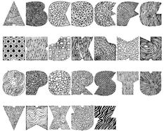 Kayce Lomas created this awesome little alphabet made up of random textures that correspond to the letter. So as you can see in the top image The A is a sea anemone, the B is Barnacles, the C is clouds and the D is diamonds. This isn't a new idea but it's a well-executed one and I think she did a great job of giving these letters a lot of character. I really love the N, which I think is a nest, and the Q which I think is made of quartz.