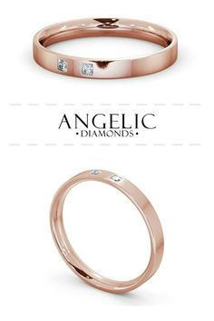Ladies Diamond Wedding Ring in Rose Gold | This bride's diamond wedding ring in rose gold features 2 princess cut diamonds set into a unique, flat ring.