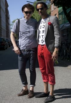 stylish men, especially the one en red pants