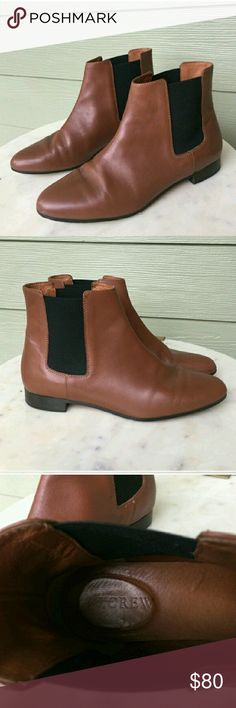 💙 J. Crew Congac Leather Chelsea Boot Classic & always in style. Sold out in stores. Small scuff on heel, not visible when wearing. Color and condition are true to pics. Authentic. Only worn a few times by original posher. I absolutely love everything about these, unfortunately my legs are too slim to pull off this style. Can only be bundled with other items marked 💙 J. Crew Shoes Ankle Boots & Booties