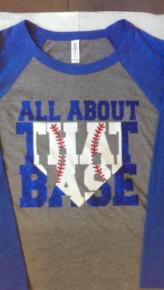This listing is for a 3/4 sleeve UNISEX fit baseball tee with ALL ABOUT THAT BASE. If you want this with a softball instead, please send it in