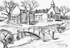 beautiful pencil drawings of scenery Beautiful Pencil Drawings, Landscape Pencil Drawings, Pencil Sketch Drawing, Landscape Sketch, Beautiful Sketches, Cool Art Drawings, Pencil Art Drawings, Art Drawings Sketches, Landscape Art