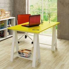 Mesa/Escrivaninha Cavalete Bely em MDF  http://www.lojaskd.com.br/mesa-escrivaninha-cavalete-bely-em-mdf-branco-amarelo-uvim-49095.html?feature=viewpersonalized=home%2FHome%20office%2FMesas%20para%20escrit%C3%B3rio