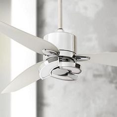 An energy-efficient LED ceiling fan with directional downlighting. Living Room Ceiling Fan, Bedroom Ceiling, Bedroom Lighting, Contemporary Ceiling Fans, Modern Ceiling Fans, Kitchen Fan, Ceiling Fan Makeover, Fan Light Kits, Modern Fan