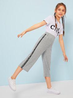 Pantalones de niñas tejidos marled con parche con cinta con letra | SHEIN ES