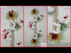 Detailed Step by Step Christmas Mice Christmas Wreaths, Christmas Crafts, Christmas Ornaments, Make Tutorial, Decor Crafts, Home Decor, Ladder Decor, Photo Wall, Photos