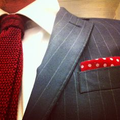 Bit of this bit of that. Blue pin blazer, woven tie, polka dot pocket square.