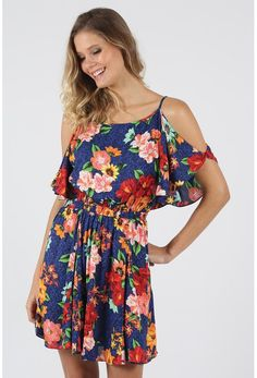 Vestido Curto Farm Ombro Vazado Floral - BabadoTop