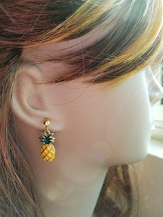 Pineapple Dangle Earrings by bluesparrowtrinkets on Etsy