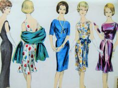 Vintage Vogue 5357 Sewing Pattern, 1960s Dress Pattern 1960s Sewing Pattern, Godet Hem Evening Dress, Bust 36, Stole Pattern, Vintage Sewing
