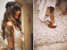 A Palm Springs wedding with a bohemian bride! Beach Wedding Hair, Summer Wedding, Dream Wedding, Wedding Trends, Wedding Styles, Jeffrey Campbell, Celine, Wedding Angels, Brides With Tattoos