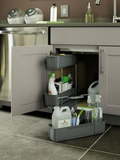 Diamond Cabinets Cleaning Caddy receives an ADEX Gold Award! The Cleaning Caddy conveniently holds items under the sink and features a removable wire rack for ease of transporting to other areas of the home. Kitchen Size, Small Space Kitchen, Kitchen And Bath Design, Kitchen Designs, Kitchen Sink Storage, Storage Cabinets, Storage Room, Cleaning Caddy, Cleaning Agent