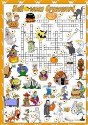 English teaching worksheets: Halloween crossword