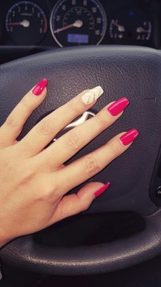 Pinkish red, with white accent nail.