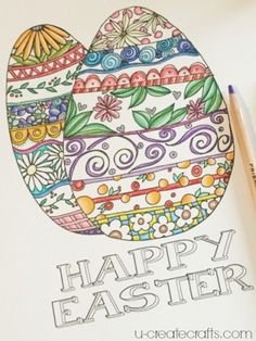 Easter Egg Coloring Page - U Create Easter Egg Coloring Pages, Coloring Book Art, Crafts For Seniors, Senior Crafts, Easter Art, Easter Ideas, Easter Egg Pictures, Mandala Art Lesson, Zentangle Drawings