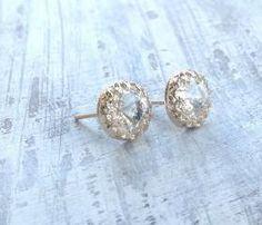 Gold earrings, crystal stud earrings, stud earrings, classic earrings, wedding earrings, Gold filled earrings - 6100