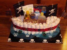 Custom Designed Pirate Ship Diaper Cake by ScottiesDiaperCakes