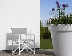 Alu Director Chairs White Mat Light Grey Textilene Deluxe aan Actieprijzen!