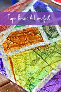 Creating tape resist art on foil - could use with sharpie markers too. Redo our foil covered string art canvases!