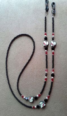 I Love my Cat Handmade Beaded Eyeglass Chain Beaded Jewelry Designs, Jewelry Patterns, Bohemian Bracelets, Handmade Bracelets, Beaded Necklace, Beaded Bracelets, Eyeglass Holder, Eyeglasses, Jewelry Making