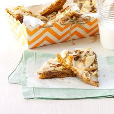 """Caramel Heavenlies Recipe -Before I cut these bars into triangles, I usually trim the edges so all the cookies look the same. My husband and daughter love this part because they get to eat the """"scraps."""" —Dawn Burns, Lake St. Louis, Missouri"""