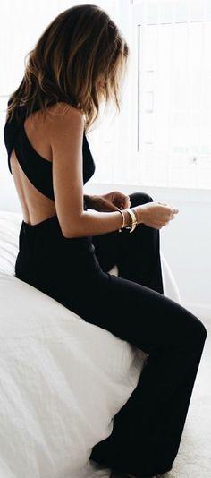 #summer #fashion black jumpsuit