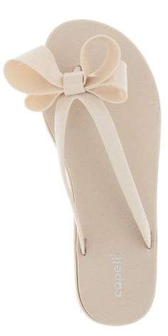 5ba14ccbe602be Capelli New York Jelly Bow   Thong Ladies Flip Flop On A Solid Sock Nude