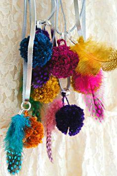 DIY Pom Pom Feather Necklaces