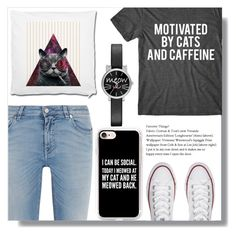 """""""Cats and Caffeine"""" by makenziethedancer ❤ liked on Polyvore featuring Givenchy, Converse, Casetify and Jessica Carlyle"""