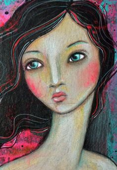 Original OOAK 6 x 9 Mixed Media acrylic colored by Pennystamper:
