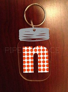 Personalized Acrylic Mason Jar Keychain with Polka Dot Letter by PiperGraceGifts on Etsy